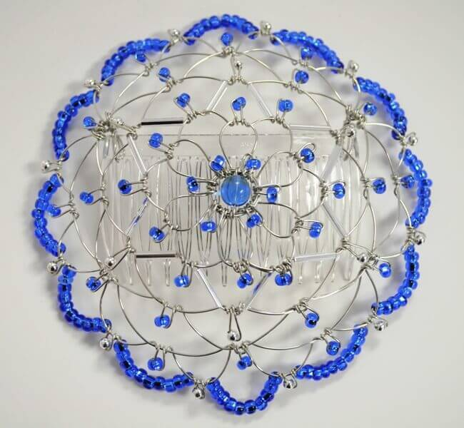 Cobalt Silver Star of David Wire Kippah