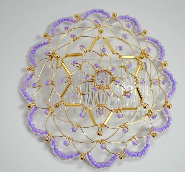 Gold Lavender star of David Wire Kippah