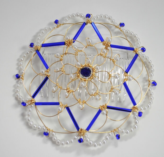 Gold Cobalt Star of David Wire Kippah