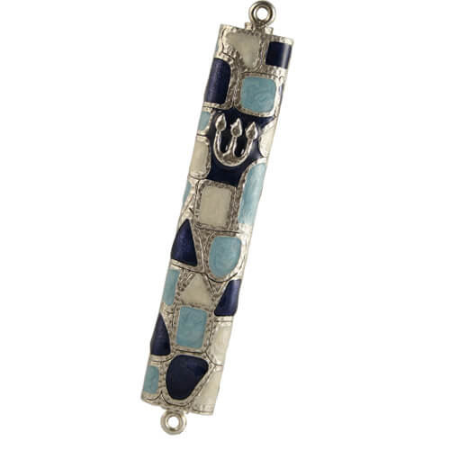 Blue Stained Glass Mezuzah, by Quest