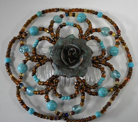 Apache Rose Beaded Wire Kippah