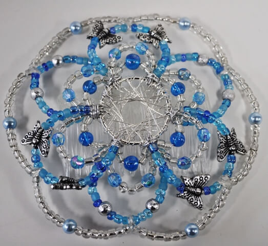 Aqua Flight Beaded Wire Kippah