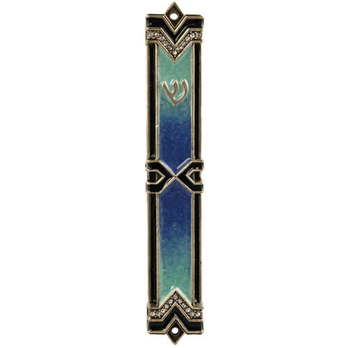 Art Deco Blue Enamel Mezuzah, by Quest
