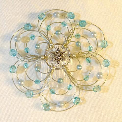 Baby Blue Light Beaded Wire Kippah
