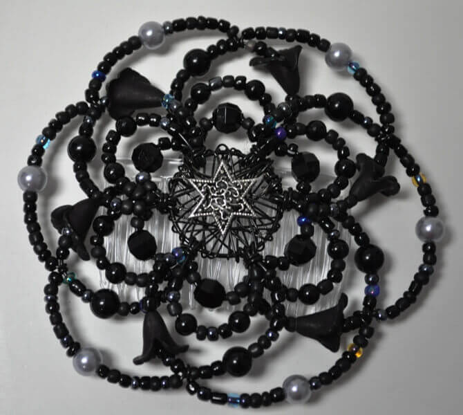 Black Dahlia Beaded Wire Kipah