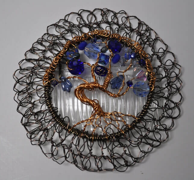 Etz Chaim Tree of Life Blue Wire Kippah