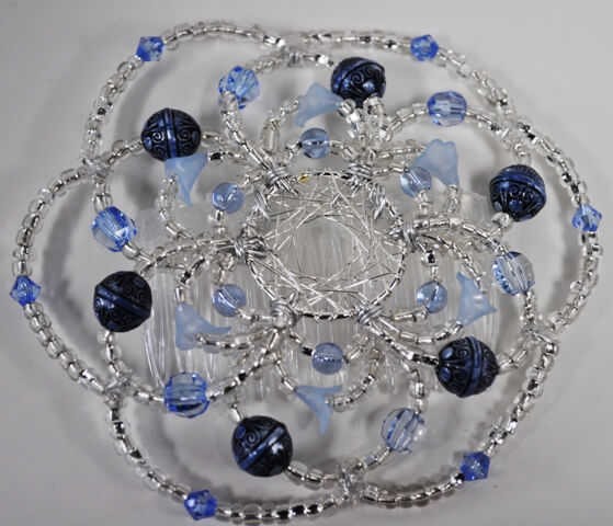 Callas in Blue Beaded Wire Kippah