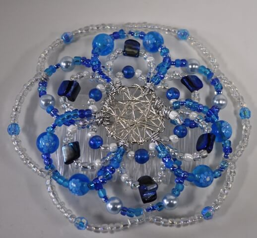 Clouds and Sky Beaded Wire Kippah