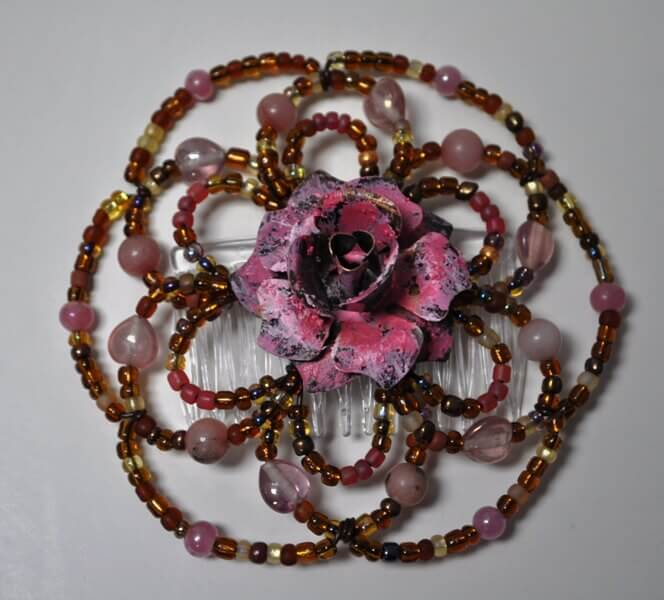 Desert Rose Wire Beaded Kippah