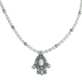 Small White Luminescent Pearl Hamsa, by Michal Golan
