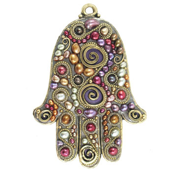 Swirl Jeweled Toned Wall Hamsa, by Michal Golan