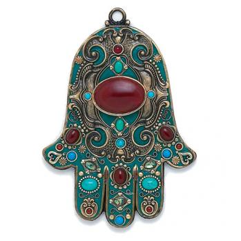 Teal Wall Hamsa, by Michal Golan