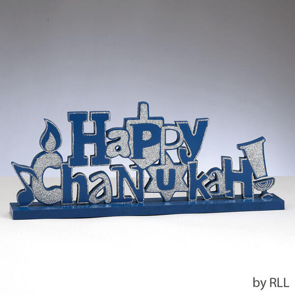 Happy Chanukah Glitter Wood Sign