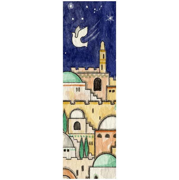 Jerusalem Dove Car Mezuzah by Mickie Caspi