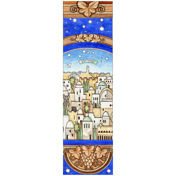 Jerusalem Skyline Car Mezuzah by Mickie Caspi