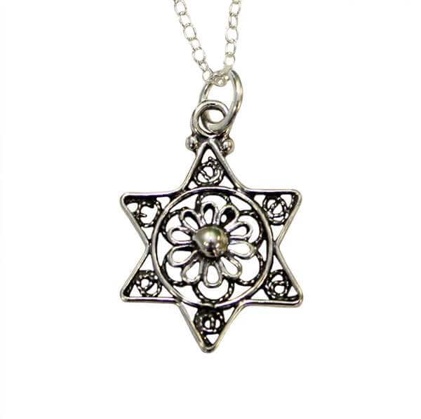 Lacey Filigree Sterling Silver Star of David