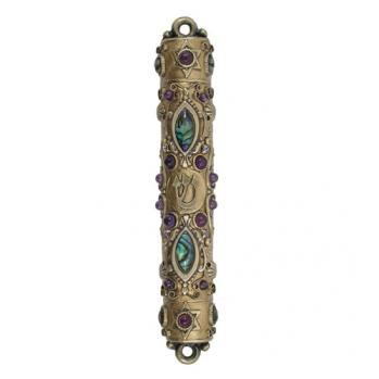 Abalone, Garnet and Crystal Mezuzah, by Michal Golan