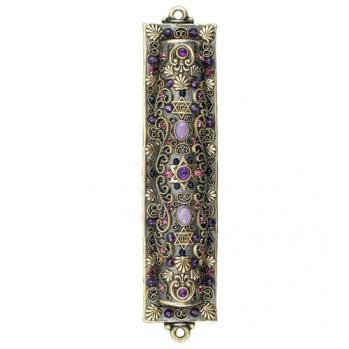 Amethyst and Swarovski Crystals Mezuzah, by Michal Golan