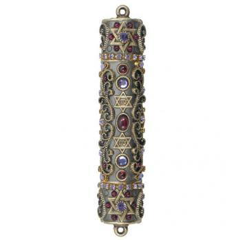 Antique Gold and Garnet Mezuzah, by Michal Golan