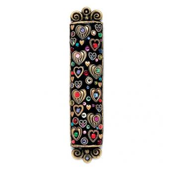 Black Multi-Colored Hearts Mezuzah, by Michal Golan