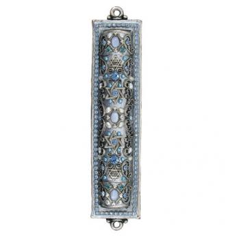 Blue Lace Agate, Fresh Water Pearl Mezuzah, by Michal Golan
