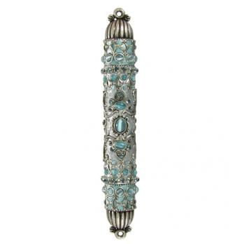 Cat's Eye with Swarovski Crystals Mezuzah, by Michal Golan