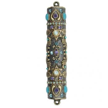 Cat's Eye and Crystals Mezuzah, by Michal Golan