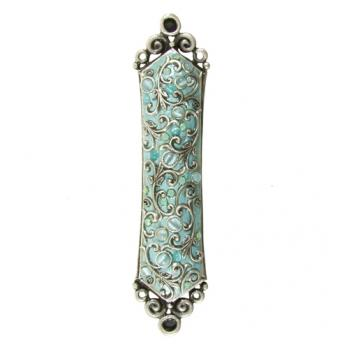 Cat's Eye and Crystals, Swirl Mezuzah, by Michal Golan