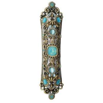 Cat's Eye, Teal Stones, Gold/Silver Mezuzah, by Michal Golan