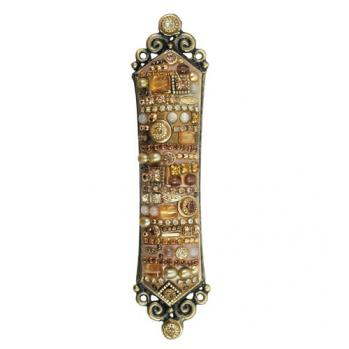 Sparkling Brilliant Gold Hues Mezuzah, by Michal Golan