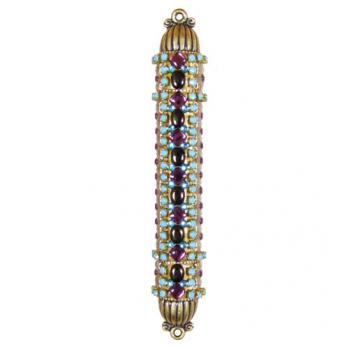 Turquoise and Glass Beads Mezuzah, by Michal Golan
