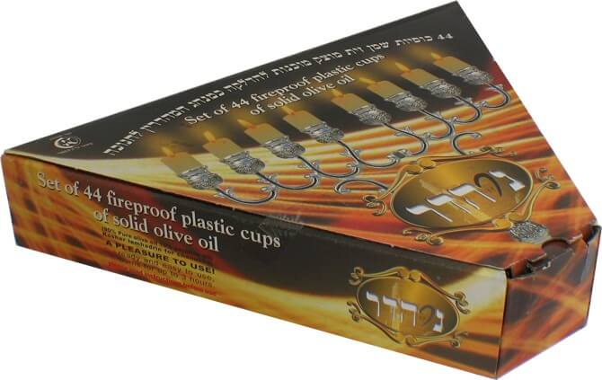 Ner Hadar Chanukah Lights-Box of 44 olive oil, Small