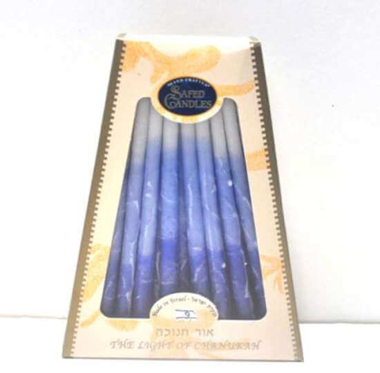 Safed Chanukah Candles Blue & White
