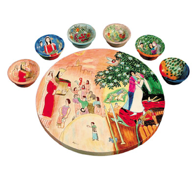 Bride and Groom Chagall Wood Seder Plate