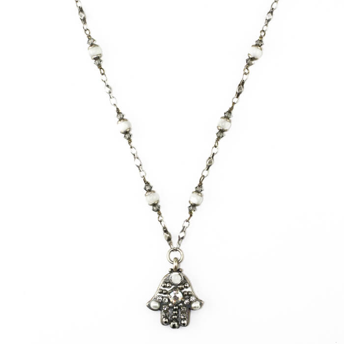 Small Silver & Fresh Water Pearls Hamsa, by Michal Golan