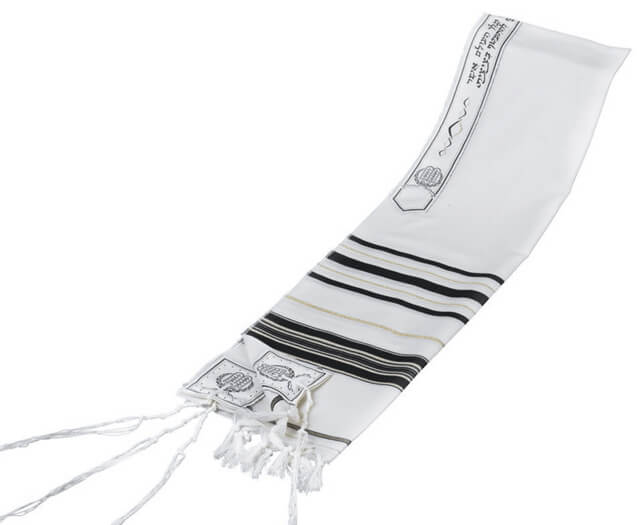 Wool Tallit, Black/Gold (see sizes & pricing)