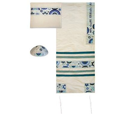 Star of David Embroidered Raw Silk Tallit set