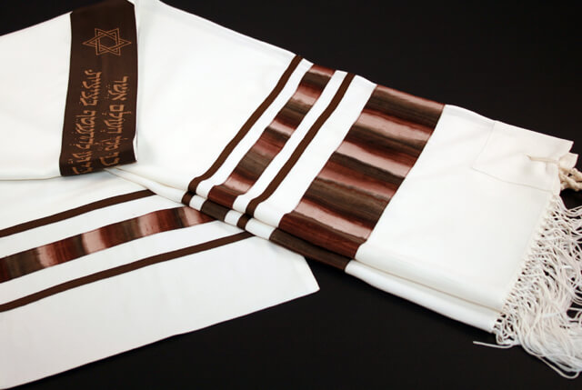 Bands Tallit in Brown and Beige