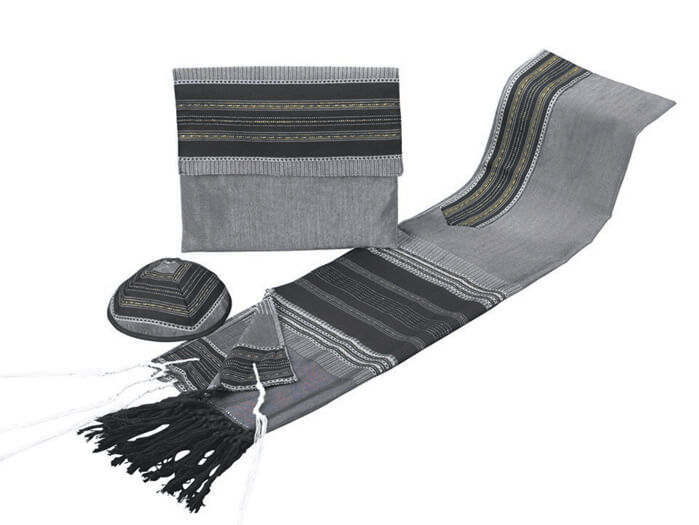Silk Tallit Set, Black and Gray w/ Gold (see sizes & pricing)