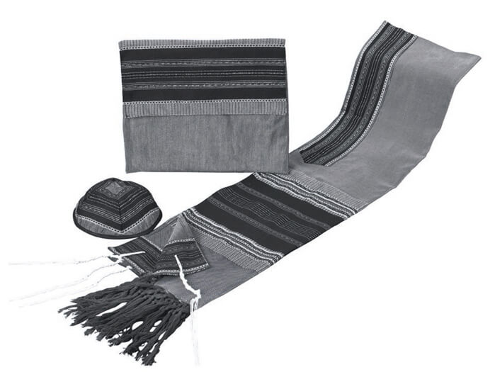 Silk Tallit Set, Black and Gray w/ Silver (see sizes & pricing)