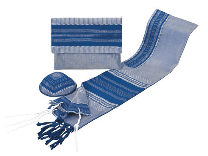 Silk Tallit Set, Blues and Gold (see sizes & pricing)