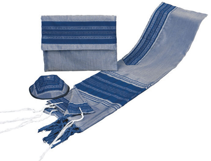 Silk Tallit Set, Blues and Silver (see sizes & pricing)