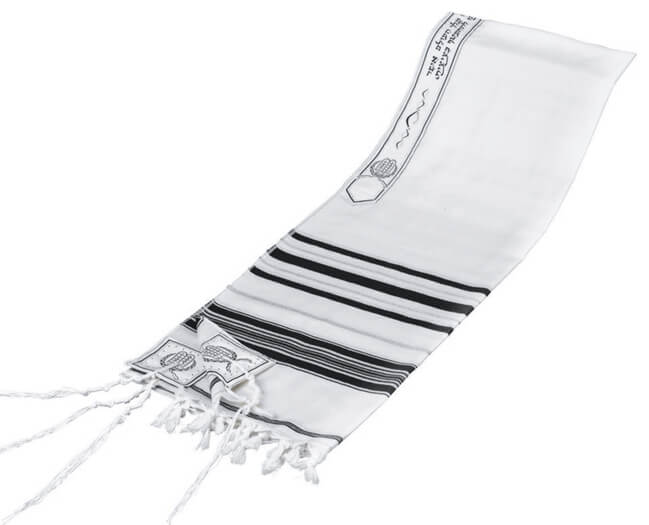Wool Tallit, Black/Silver (see sizes & pricing)