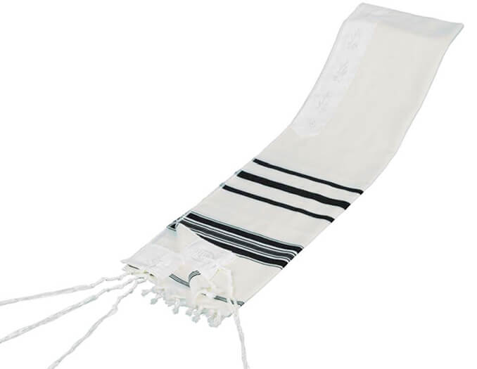 Wool Tallit, Black Stripes (see sizes & pricing)