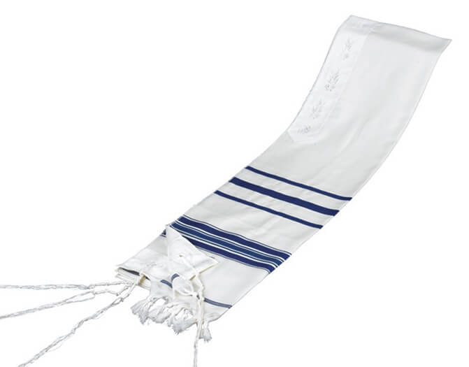 Wool Tallit, Blue Stripes (see sizes & pricing)
