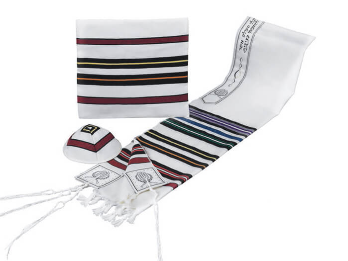 Wool Tallit Set, Multicolored (see sizes & pricing)