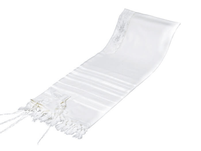 Wool Tallit, White Stripes (see sizes & pricing)