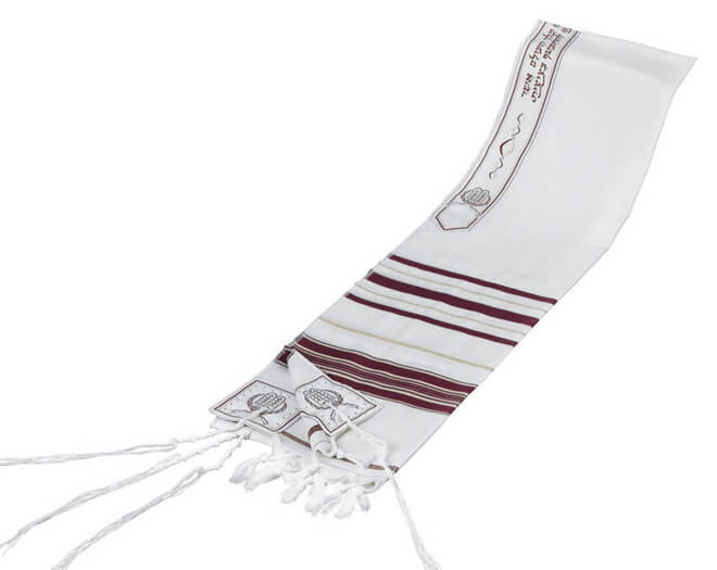 Wool Tallit, Wine/Gold (see sizes & pricing)