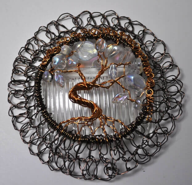 Etz Chaim Tree of Life White Wire Kippah
